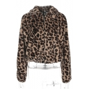New Fashion Leopard Pattern Lapel Zip Placket Long Sleeve Fur Coat