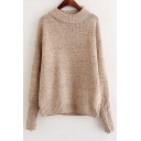 Chic Simple Plain Round Neck Long Sleeve Pullover Sweater