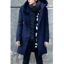 Simple Plain Double Breasted Hooded Long Sleeve Longline Trench Coat