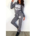 New Fashion Crown Print Round Neck Long Sleeve Sweatshirt Sports Co-ords