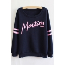 Letter Print Ribbed Long Sleeve Pullover Sweatshirt