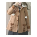 New Bow Embellished Long Sleeve Buttons Down Hooded Woolen Coat
