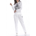 Fashion Letter Print Long Sleeve Hoodie Leisure Co-ords