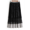 Chic Plain Lace Up Elastic Waist Pleated Midi Skirt