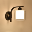 Industrial Wall Sconce with Cylinder Glass Shade in Modern Style