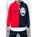 Color Block Clown Print Long Sleeve Loose Hoodie