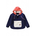 Color Block Hooded Zip Placket Long Sleeve Warm Coat