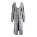 New Stylish Long Sleeve V-Neck Tunic Pocket Cardigan