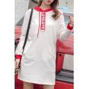 Color Block Letter Print Long Sleeve Hoodie Mini Dress