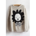 New Fashion Cartoon Lion Pattern Round Neck Long Sleeve Pullover Sweater