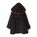 New Fashion Simple Contrast Hem Hooded Long Sleeve Trench Coat