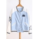 Cartoon Embroidered Contrast Striped Stand-Up Collar Long Sleeve Baseball Coat