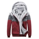 New Stylish Color Block Print Long Sleeve Unisex Hooded Coat