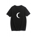New Fashion Moon Print Crew Neck Short Sleeve Tee