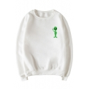 New Fashion Lovely Alien Print Round Neck Long Sleeve Pullover Sweatshirt