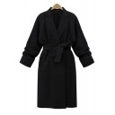 New Stylish Notched Lapel Long Sleeve Bow Tie Waist Plain Tunic Coat