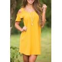 New Stylish Cold Shoulder Short Sleeve Simple Plain Shift Dress