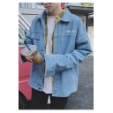Fashion letter Cat Print Single Breasted Long Sleeve Denim Jacket