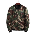 New Fashion Camouflage Pattern Stand-Up Collar Zip Up Long Sleeve Baseball Jacket