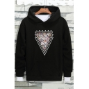 New Stylish Triangle Pattern Drawstring hood Long Sleeve Loose Hoodie