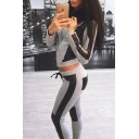 Color Block Zip Placket Long Sleeve Cropped Hoodie with Drawstring Waist Skinny Pants