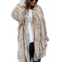 New Fashion Simple Plain Open Front Long Sleeve Fur Coat