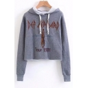 New Stylish Long Sleeve Graphic Pullover Crop Hoodie