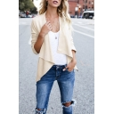 Simple Stylish Open Front Long Sleeve Asymmetric Coat