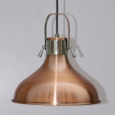 Industrial Pendant Light with 11.42''W Metal Shade in Copper Finish