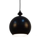 Industrial Pendant Light with 9.45''W Metal Globe Shade, Black