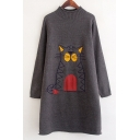 Simple Cat Pattern Mock Neck Long Sleeve Longline Sweater