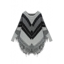 Fashionable Color Block Tassel Hem Long Sleeve Sweater