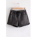 New Stylish Drawstring Elastic Waist Classic Plaid Shorts