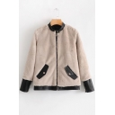 New Stylish Contrast Trim Stand-Up Collar Long Sleeve Faux Fur Coat