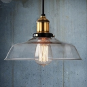 Industrial Simple Pendant Light with 9.84''W Warehouse Shade, Clear