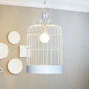 Industrial Hanging Pendant Light with Bird Lantern Shade in White