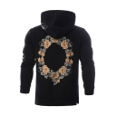 Chic Embroidery Floral Pattern Long Sleeve Split Side Hoodie