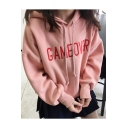 New Stylish Letter Pattern Drawstring Hood Long Sleeve Hoodie