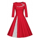 Elegant Polka Dot Patched Bardot Neck Side-Split Half Sleeve Zip-Back Fit & Flare Midi Dress