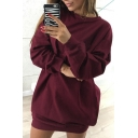 New Fashion Simple Plain Round Neck Long Sleeve Loose Mini Dress