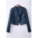 Simple Plain Notch Lapel Zip Placket Long Sleeve Cropped Jacket