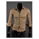 Men's Fashion Stand-up Collar Long Sleeves Turn-up Cuffs Button-Down Giraffe Embroidered Slim-Fit T-shirt