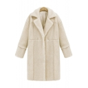 Elegant Notched Lapel Long Sleeves Faux Fur Longline Coat with One Button