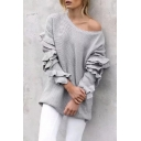 New Stylish Ruffle Long Sleeve Round Neck Plain Pullover Sweater