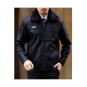 Men's Fashion Faux Fur Lapel Zip Placket Long Sleeve PU Jacket