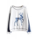 New Fashion Cartoon Deer Print Round Neck Long Sleeve Pullover Sweatshirt
