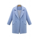 New Stylish Flap Pocket Notched Lapel Long Sleeve Plain Tunic Coat