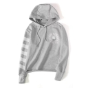 New Stylish Print Drawstring Hood Color Block Striped Long Sleeve Hoodie
