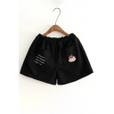 New Stylish Embroidery Letter Coffee Pattern Elastic Waist Shorts