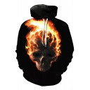 New Fashion Firing Flame Skull Print Long Sleeve Hoodie